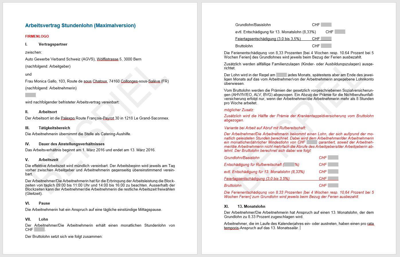 Download Arbeitsvertrag Stundenlohn | AGVS | UPSA - Sektion beider Basel